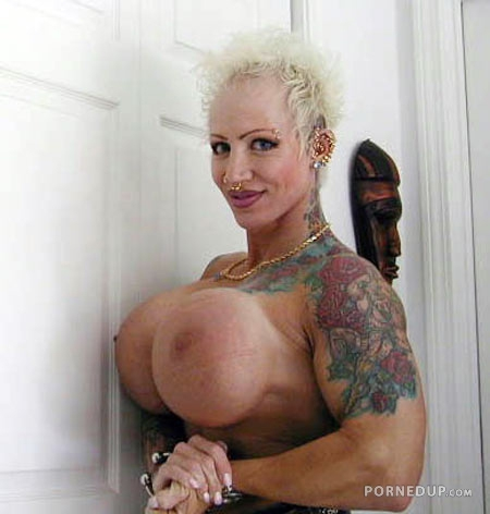 big weird fake tits on scary woman porned up