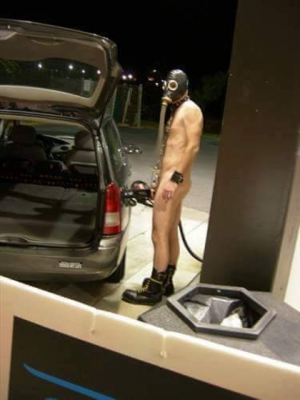 Dude Fueling Up On His Way To Kinky Party