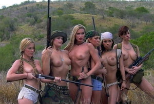 six topless babes with guns