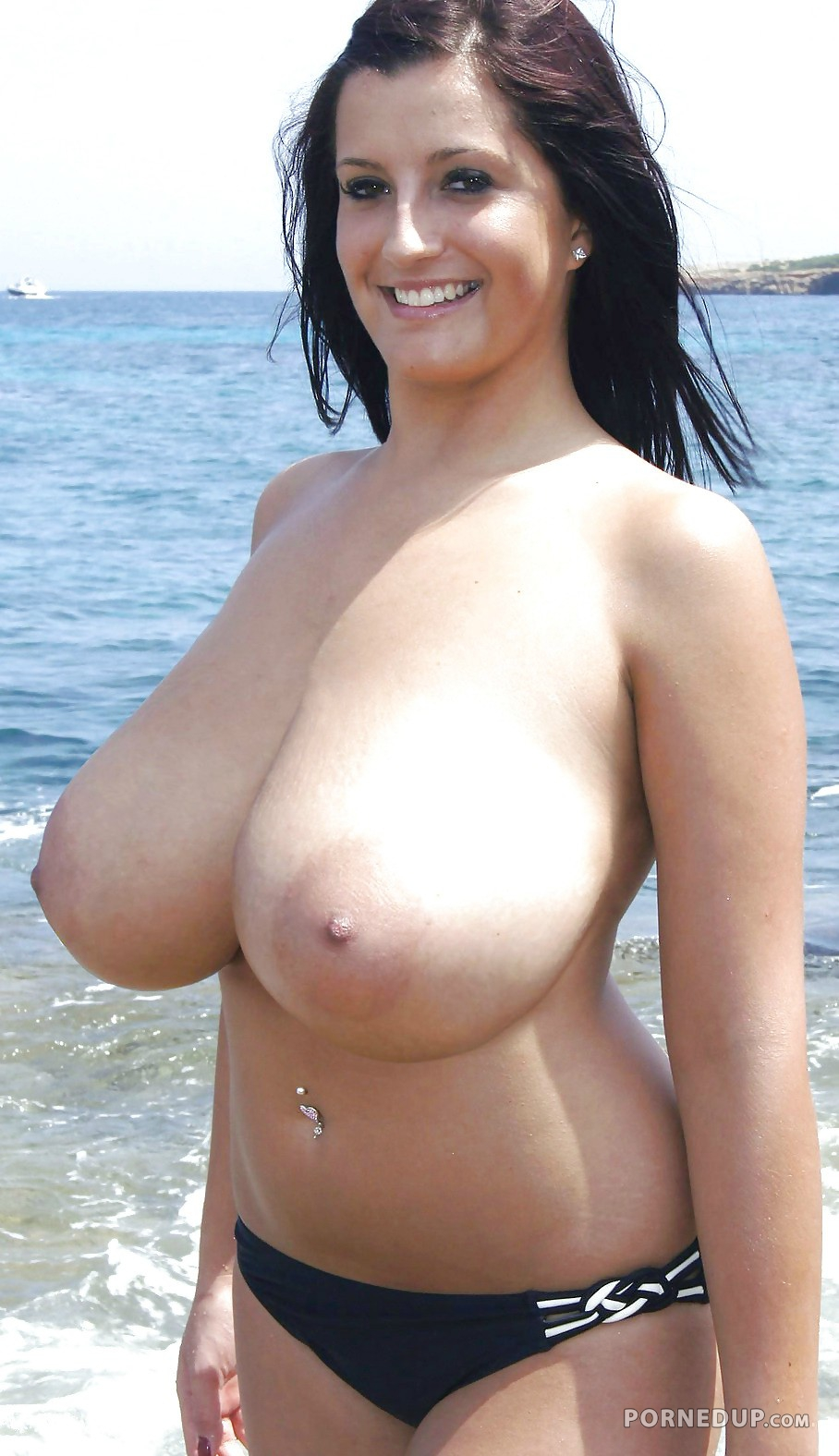 Cuckolds at the beach big natural tits
