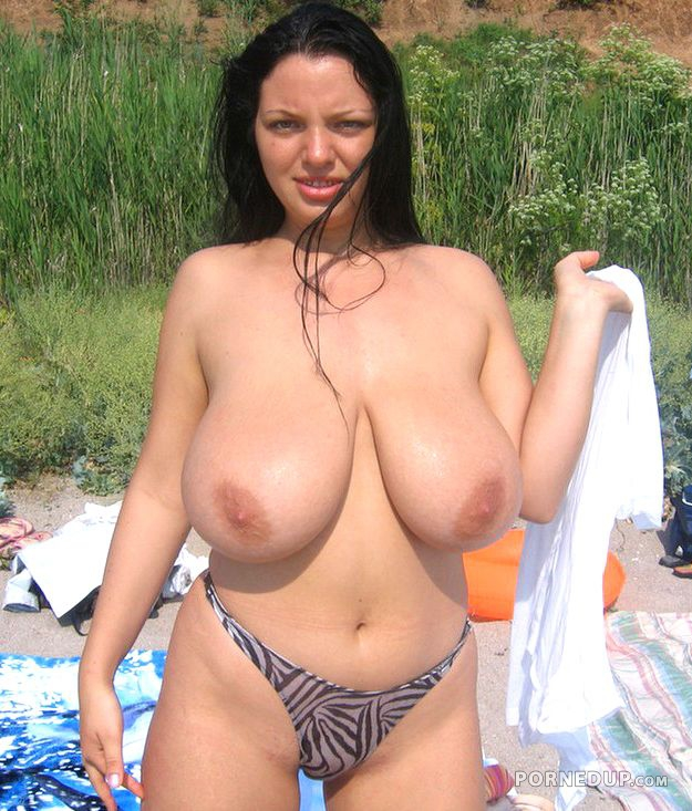 Beach mature boobs