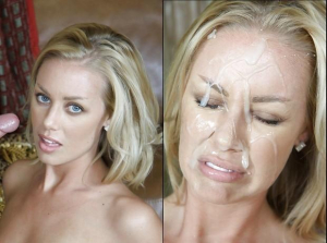 Messy facial for pretty blonde