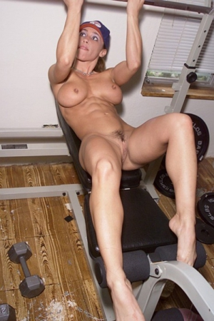 Naked fit girl at gym