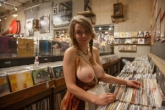 Big tits in recordshop