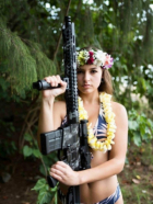 Bikini Chick With Big Gun