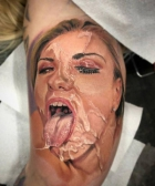 Cum Face Tattoo