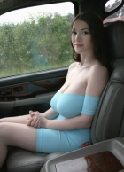 Hot milf in tight blue dress with big tits