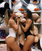 Teddybeach Cuddled By Two Babes